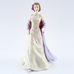 Royal Doulton HN4821 Pretty Ladies Megan In Pale Dress With Floral Motives And Pale Lilac Sash