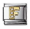 Nomination 030301/06 Composable Classic Charm CZ LETTERS Stainless Steel & 18k Gold Letter F