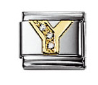 Nomination 030301/25 Composable Classic Charm CZ LETTERS Stainless Steel & 18k Gold Letter Y