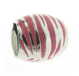 Truth Jewellery 443989 Sterling Silver Pink Stripey Barrel Charm Bead