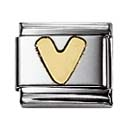 Nomination 030101/22 Composable Classic Charm LETTERS Stainless Steel & 18k Gold Letter V