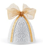 Lladro 01018341 2010 CHRISTMAS BELL White Finish With A Gold Colour Ribbon