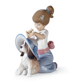 Lladro 01006862 AN ELEGANT TOUCH - A Little Girl Dressing Up Her Dog With A Hat
