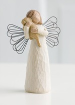 Willow Tree 26011 Angel Of Friendship - For those who share the spirit of friendship - Cream Angel with dog