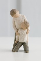 Willow Tree 26056 Figurine Brothers - Forging a Bond That Lasts a Lifetime- Cream Older brother with younger brother