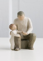 Willow Tree 26058 Figurine Grandfather - Bridging Generations with Ageless Love - Cream Grandad with grandson