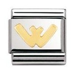 Nomination 030101/23 Composable Classic Charm LETTERS Stainless Steel & 18k Gold Letter W