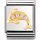 Nomination 032306/32 Composable Big Charm Cubic Zirconia WATER ANIMALS Stainless Steel & 18k Gold Pink Dolphin