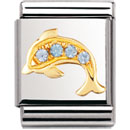 Nomination 032306/31 Composable Big Charm Cubic Zirconia WATER ANIMALS Stainless Steel & 18k Gold Blue Dolphin