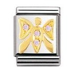 Nomination 032303/16 Composable Big Charm Cubic Zirconia AIR ANIMALS Stainless Steel &18k Gold Pink Butterfly