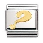 Nomination 030110/27 Composable Classic Charm FUN Stainless Steel & 18K Gold Question Mark