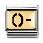 Nomination 030263/01 Composable Classic Enamel Charm BLOOD GROUPS Stainless Steel & 18k Gold O Negative