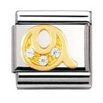 Nomination 030301/17 Composable Classic Charm CZ LETTERS Stainless Steel & 18k Gold Letter Q