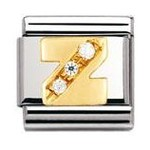 Nomination 030301/26 Composable Classic Charm CZ LETTERS Stainless Steel & 18k Gold Letter Z