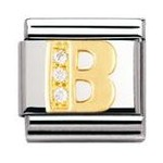 Nomination 030301/02 Composable Classic Charm CZ LETTERS Stainless Steel & 18k Gold Letter B