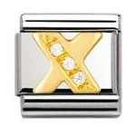 Nomination 030301/24 Composable Classic Charm CZ LETTERS Stainless Steel & 18k Gold Letter X