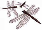 Set of 3 Copper Garden Dragonfly Wall Art Decorations D32272/E
