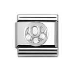 Nomination 330301/15 Composable Classic Charm CZ ALPHABETH Stainless Steel & 925 Silver Letter O