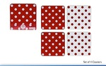 Leonardo LP91026 CASCADE RED & WHITE COASTERS SET 4