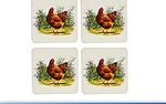Leonardo LP91408 Cockerel and Hen Coasters set of 4  4.1 inches