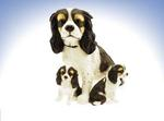 Leonardo LP16881 Caviller King Chales Spaniel Mother With Two Puppies Black