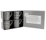 LP92468 B&W Houndstooth Mug Set of 4