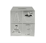 LP28630 Diamante Cube Money Box Silver Plated