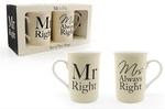 Leonardo LP33186 MR & MRS RIGHT MUGS (Set of 2)