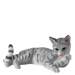 A24812 Silver Tabby Cat Lying Licking Paw