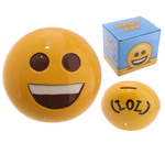 Emotive Ceramic Money Box - BIG SMILE EMOJI With Rubber Bung Boxed MB201