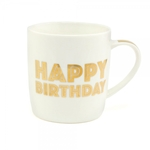 'Happy Birthday' Mug In Gold Script Font LP33682 - Leonardo