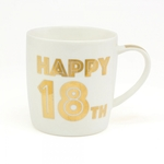 'Happy 18th Birthday' Mug In Gold Script Font LP33683 - Leonardo