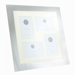 Silver Glitter Collage Frame With 4 Pictures Each 4x6 Size LP29676 - Leonardo