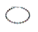 Coeur De Lion Geo Cube Mini Multicolour Grey Necklace (K4655)