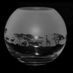 Large Glass Globe Vase With Safari Design