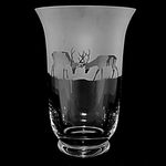 Large 23cm Crystal Glass Flared Vase with Stag Design