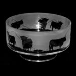 14cm Crystal Footed Comport Bowl With Highland Cattle Design