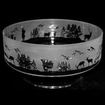14cm Crystal Footed Comport Bowl With Scottish Scene Design