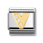 Nomination 030301/23 Composable Classic Charm CZ LETTERS Stainless Steel & 18k Gold Letter V