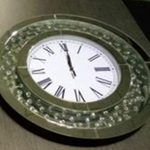 FLOATING SPARKLE CRYSTAL MIRRORED ROUND CLOCK £120