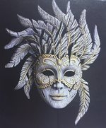 Venetian Antique White Carnival Mask - Edge Sculpture (Pre-order for 4 to 6 weeks arrival)