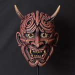 Japanese Hannya Antique Red Mask - Edge Sculpture (Pre-order for 4 to 6 weeks arrival)