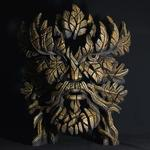 Green Man Smouldering Brown Rust Bust - Edge Sculpture (Pre-order for 4 to 6 weeks arrival)
