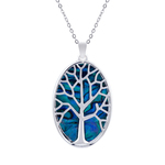 Tree of Life Oval Paua Shell Necklace - Byzantium Collection