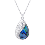 Laced Teardrop Paua Shell Necklace - Byzantium Collection