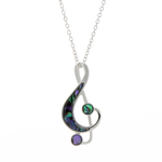 Treble Clef Paua Shell Necklace - Byzantium Collection