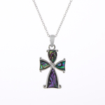 Celtic Cross Paua Shell Necklace - Byzantium Collection