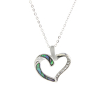 Hollow Heart Paua Shell Necklace - Byzantium Collection