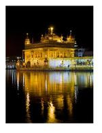 Golden Temple Night 80x60cm Figurative Framed Print