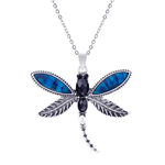 Dragonfly Paua Shell Necklace - Byzantium Collection